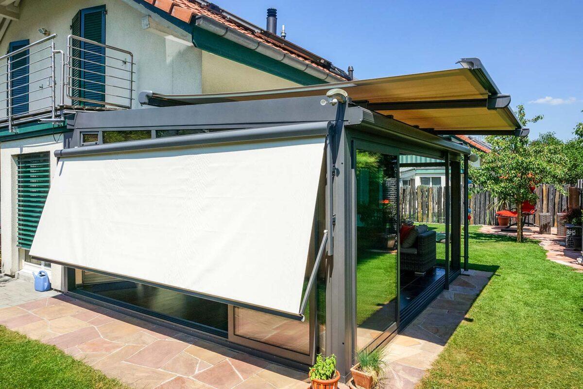 Wintergarten Hawaii80 SunParadise mit ISO41 Schiebefenster und diversen Beschattungen