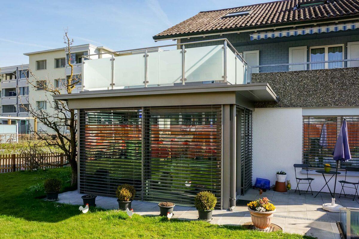 Immergarten Flachdach mit integrierter Dachterrasse