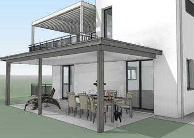 Vorprojekt Visualisierung Sitzplatzüberdachung BERNA Lamellendach